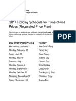 2014 TOU Holiday Schedule