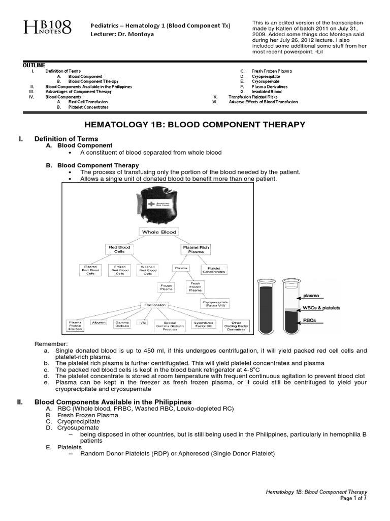 Pediatrics hematology 1b blood component therapy blood pediatrics hematology 1b blood component therapy blood transfusion platelet ccuart Gallery