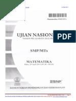 Soal & Pembahasan UN Matematika SMP 2012-2013 Paket 3