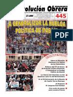Semanario  Revolución Obrera Edición No. 445