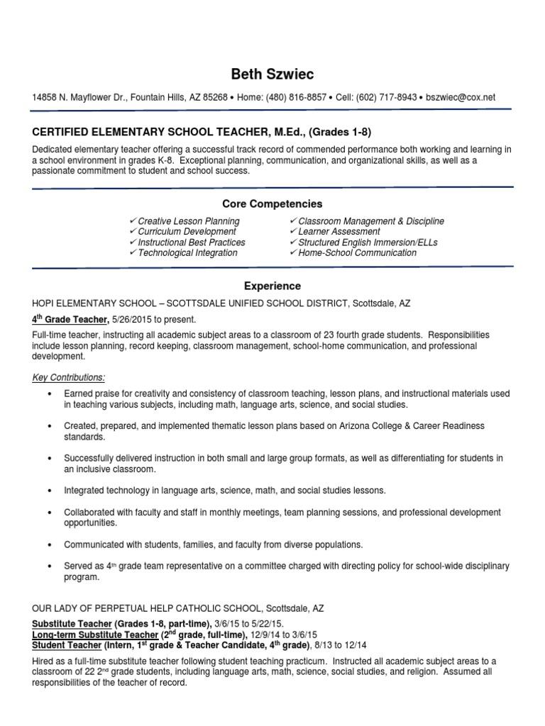 Beth Szwiec Resume Certified Teacher 3062016 Teachers Classroom