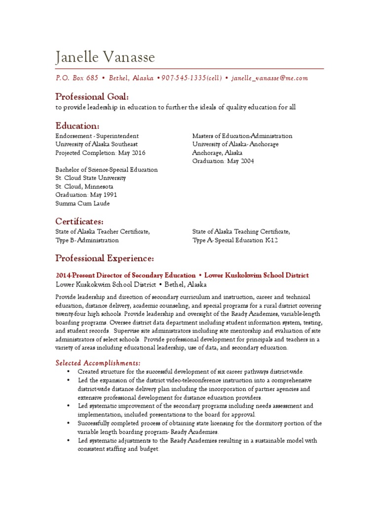 Vanasse Resume 020316 Advanced Placement Secondary School