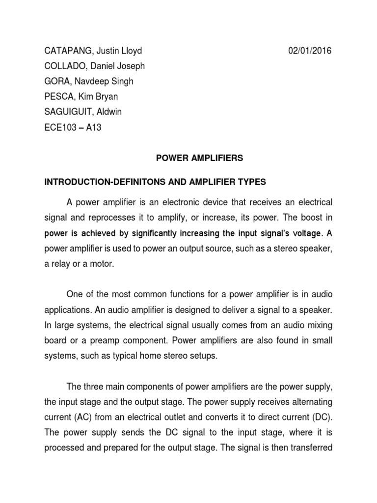Power Amplifiers Amplifier Supply Class A