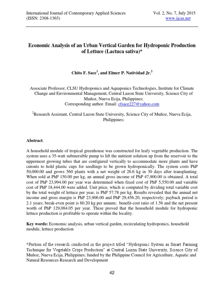 Economic analysis of an urban vertical garden for hydroponic economic analysis of an urban vertical garden for hydroponic production of lettuce lactuca sativa lettuce agriculture stopboris Image collections