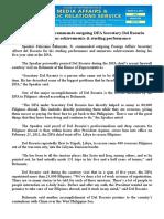 march05.2016Speaker Belmonte commends outgoing DFA Secretary Del Rosario for numerous achievements & sterling performance