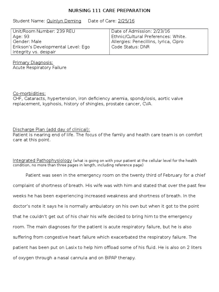 2 25 16 care plan | Respiratory System | Heart Failure