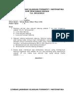 Lembar Jawaban Ulangan Formatif i Matematika Smp