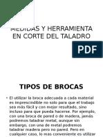 Medidas y Herramienta en Corte Del Taladro