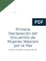 Primera Declaración DelEncuentro DeMujeres Waorani Por La Paz