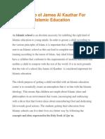 The Role of Jamea Al Kauthar for Islamic Education