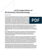 Philosophical Presuppositions of Hermeneutic Phenomenology