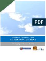 Modelo de Desarrollo Vasco. EL DESAFIO de CHINA