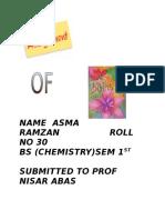 Name Asma Ramzan Roll No 30 Bs