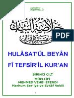 Mehmet Vehbi Efendî - Hulâsatü'L-Beyân Fî Tefsîril Kur'Ân - 1