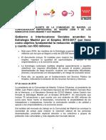 COMUNICADO CONJUNTO DE LA COMUNIDAD DE MADRID, LA CONFEDERACIÓN EMPRESARIAL DE MADRID CEIM Y DE LOS SINDICATOS CCOO MADRID Y UGT MADRID