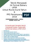 Teknik Menjawab Matematik UPSR 2016