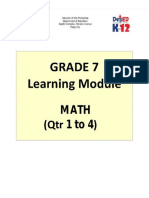 Grade 7 Math Learning Module, First Quarter