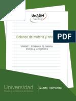 Unidad 1. El Balance de Materia- Energia y La Ingenieria