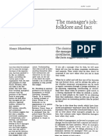 Mintzberg H, The Managers Job, Folklore and Fact
