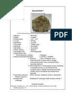 Borang Katalog Mineral Kalkopirit