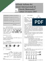 Campionati Internazionali Giochi Matematici - Le Semifinali del 20 marzo 2007 - Testi e Soluzioni