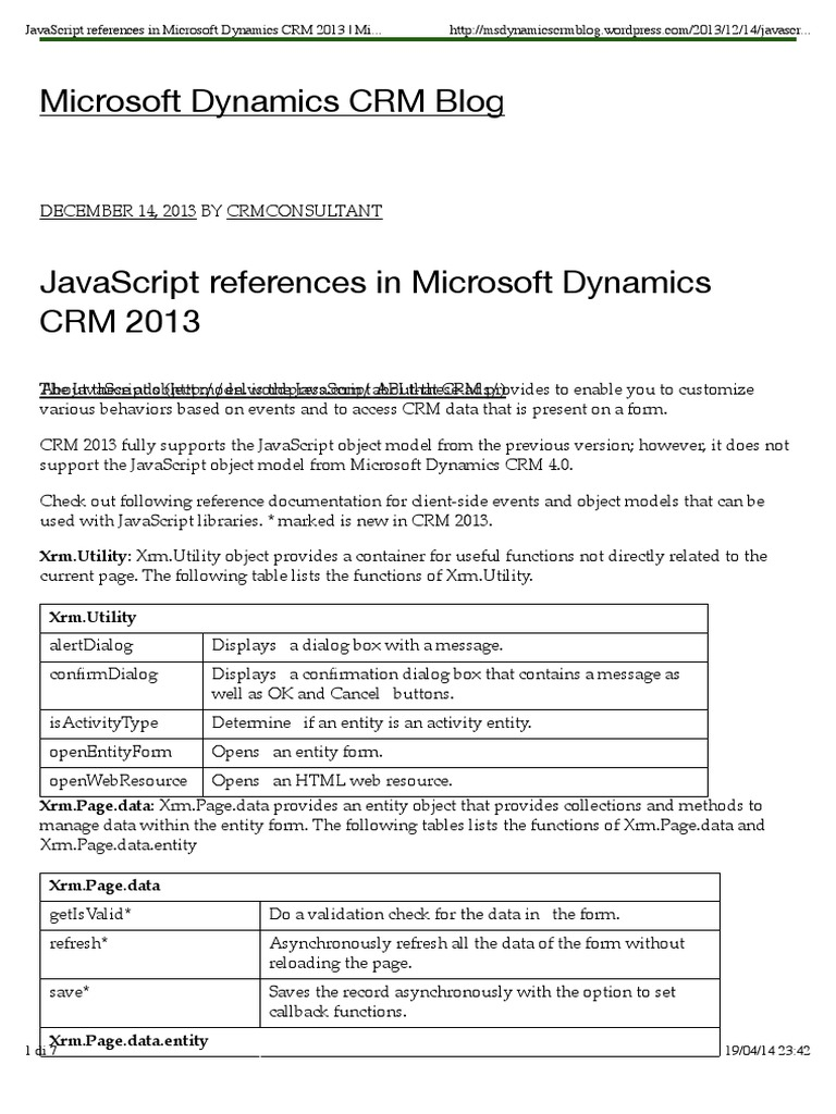 JavaScript references in Microsoft Dynamics CRM 2013