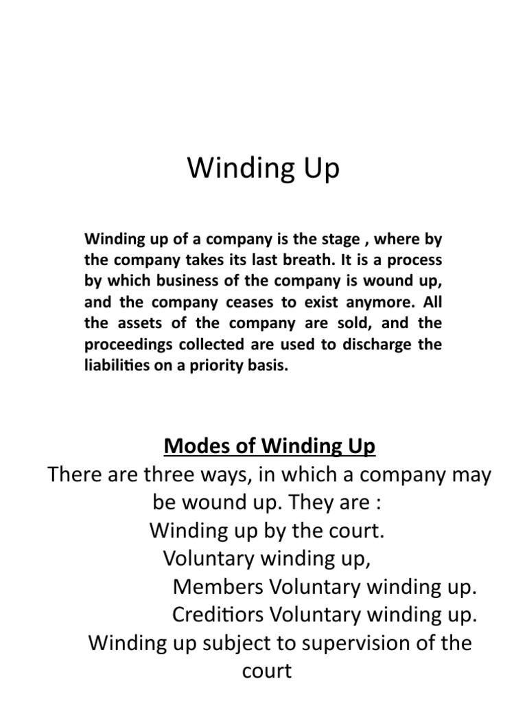 winding up of a company by court