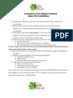 Bake Off Guidelines - MapleFest 2016