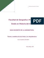 Teoría y Estética de Las Artes y La Arquitectura