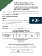 Junior Competitive Program Signup Form Spring 2016