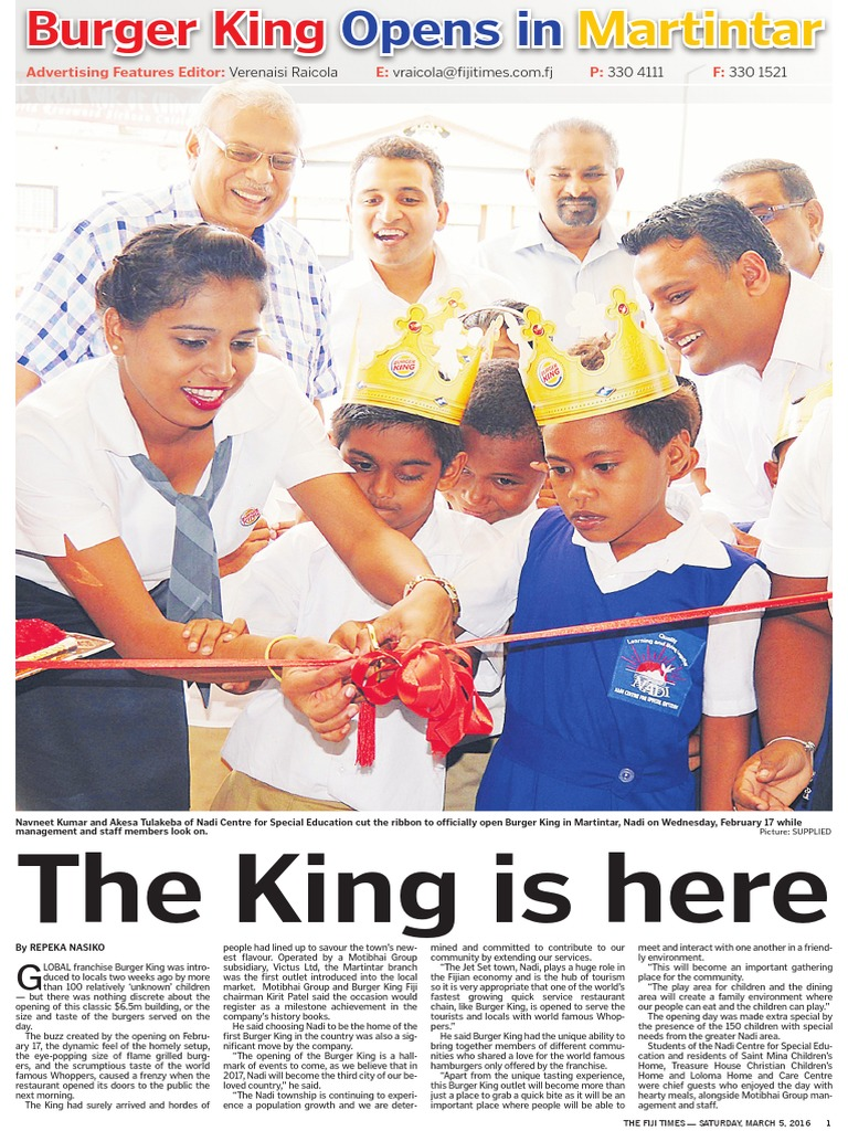 Burger King 16pgs Lift-Out in The Fiji Times 05 03 16 | Fast