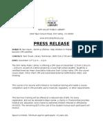 press release chanal rd