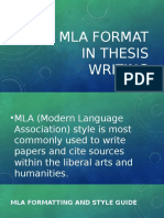 MLA Format in Thesis Writing
