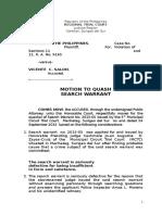 Motion to Quash Search WarrantSalon