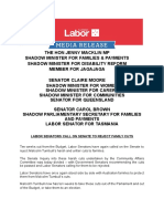 Labor Senators Call on Senate to Reject Family Cuts