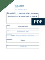 Tesina Estudio de La Creación de Un Organismo Del Transporte en Bogotá