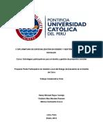 Proyecto Piloto Participativo en Gestión Local del Riesgo de Desastres en el Distrito de Calca.