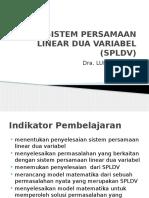 Sistem Persamaan Linear Dua Variabel (Spldv)
