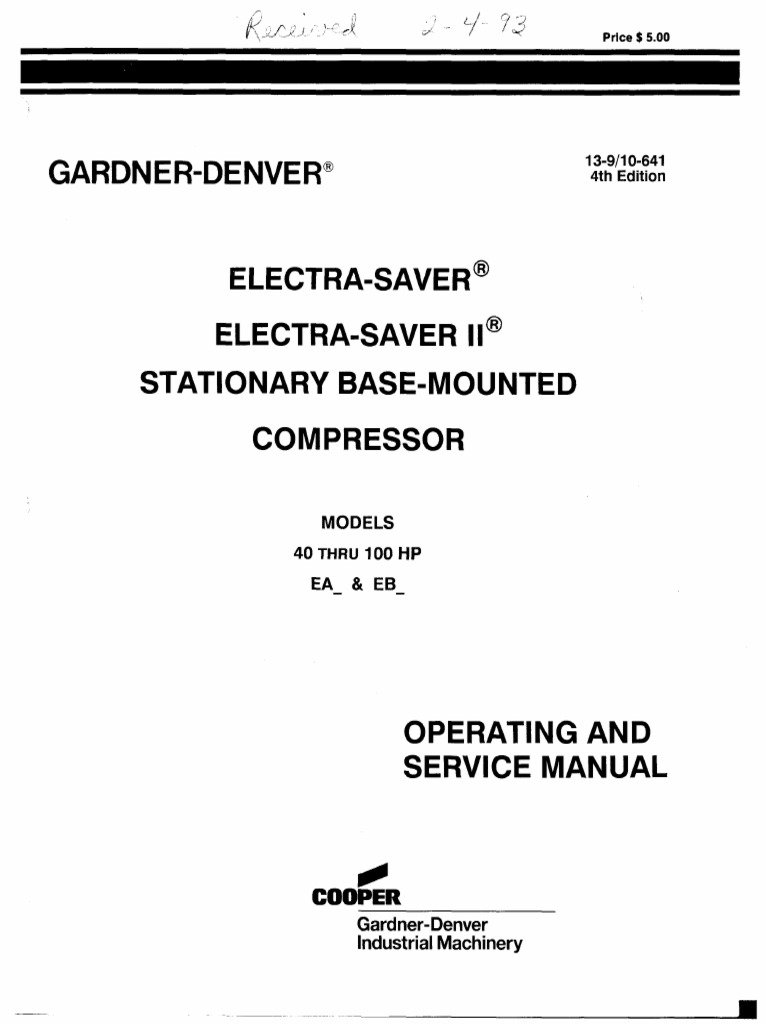 gardner denver electra saver ii gas compressor valve rh es scribd com Instruction Manual Environmental Manual