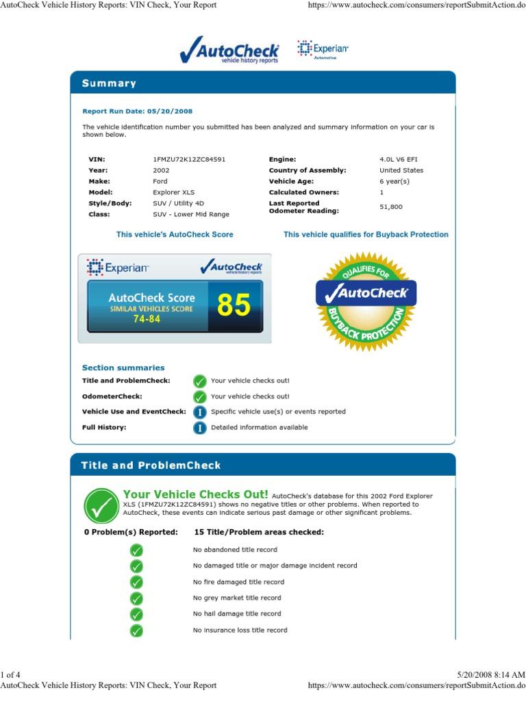 AutoCheck - Vehicle History Reports 1FMZU72K12ZC84591 VIN Check ...