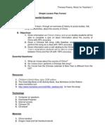 Lesson Plan China Music for Teachers T Preece PDF
