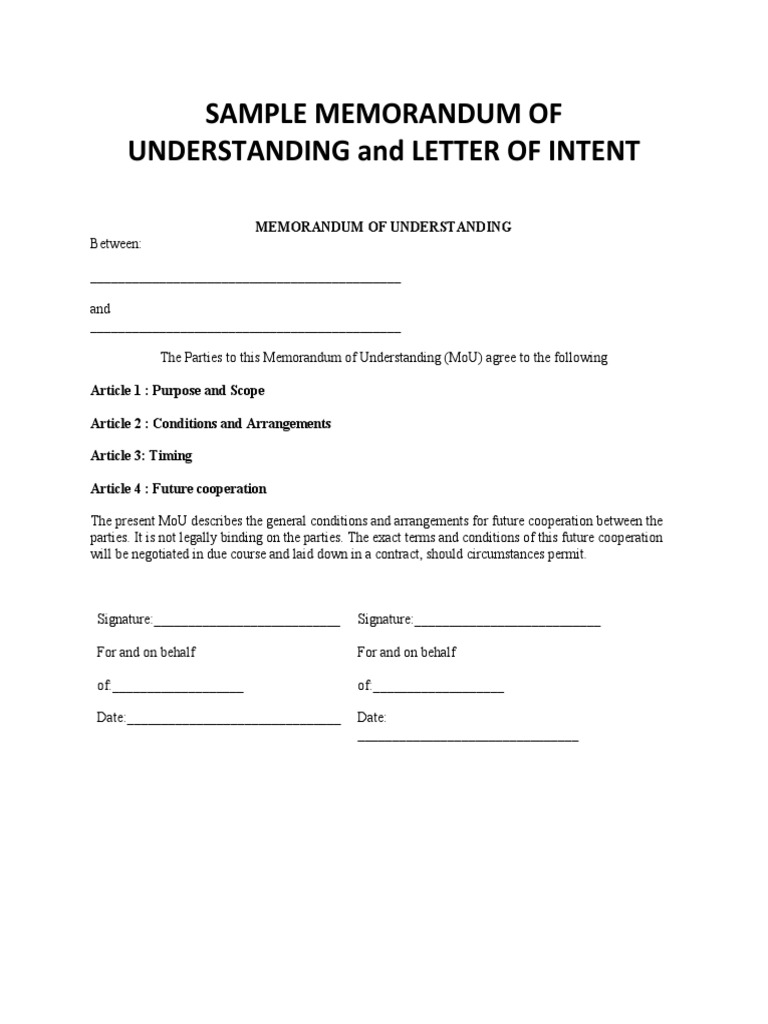 Sample memorandum of understanding and letter of intent spiritdancerdesigns Gallery