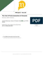 The End of Postcummunism in RRomania - Peter Gross, Vladimir Tismaneanu