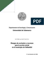 Riesgos de exclusión y recursos para la acción social en el municipio de Valladolid