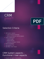 CRM Systems - Selection Criteria, Process - ROI - Business Case