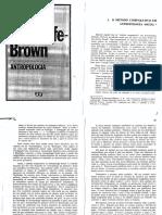 BROWN, Radcliffe. Método Comparativo Em Antropologia Social