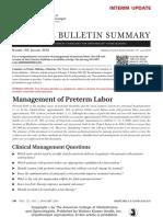 management of preterm labor