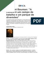 Bauman - Entrevista a Cultura é Um Campo de Batalha