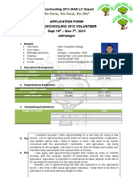 Aplication Form - Volunteer Agroschooling 2015