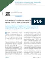 Donation-partage Et Clause Pénale